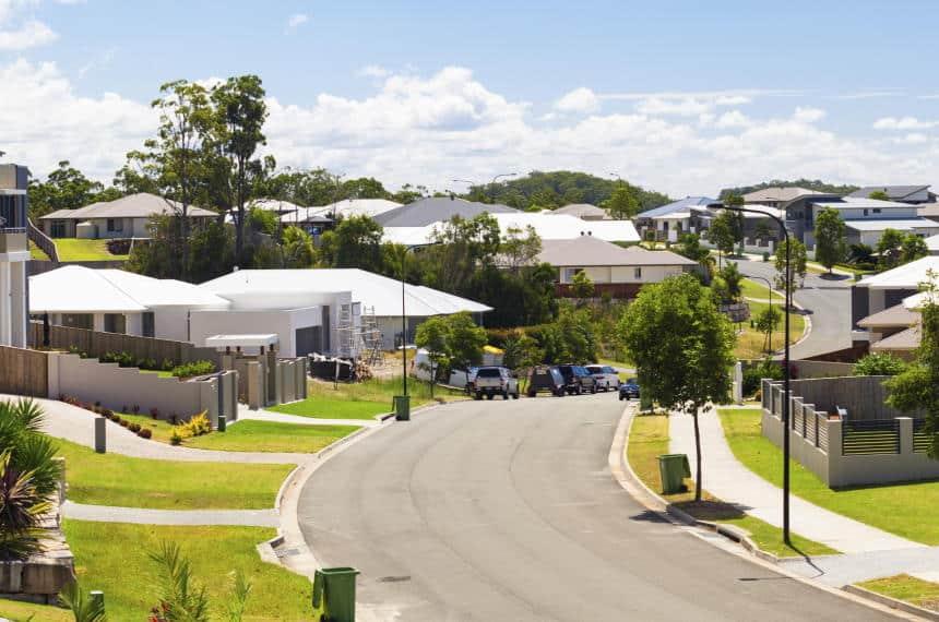Tree lined street in an Australian property development