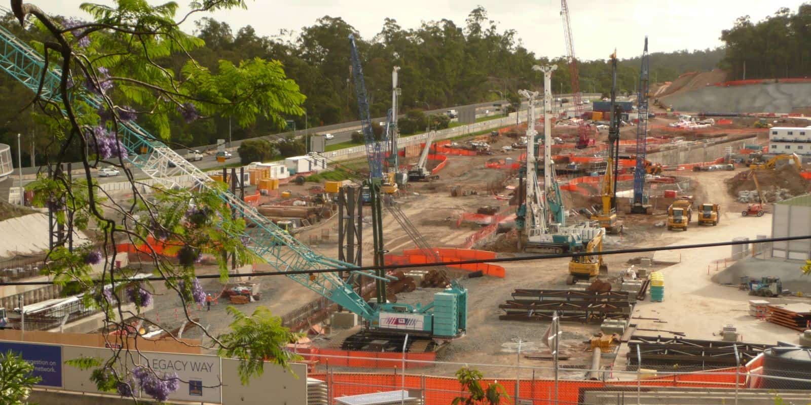 Construction at the western tunnel entrance of the Legacy Way Project, Brisbane